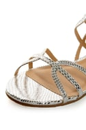 Bamboo Firework 92 Silver Snake Strappy Flat Gladiator Sandals