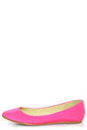 Bamboo Jump 01P Neon Pink Lycra Pointed Flats