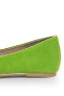 Bamboo Jump 29 Green Velvet Ruched Ballet Flats