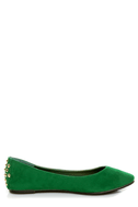 Bamboo Jump 32 Green Heel-Studded Pointed Flats