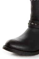 Bamboo Kacy 01 Black Studded Motorcycle Ankle Boots