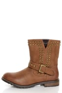 Bamboo Kacy 01 Chestnut Brown Studded Motorcycle Ankle Boots