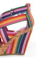 Bamboo Mirage 07 Fuchsia Rainbow Striped Wedge Sandals