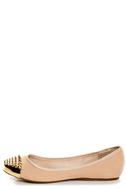 Bamboo Mirina 02 Nude Studded Metal Cap-Toe Ballet Flats