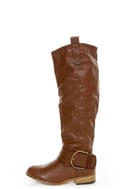 Bamboo Parksville 01 Brown Buckled Riding Boots