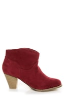 Bamboo Saratoga 01 Wine Red Ankle Booties