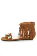 Bamboo Topnotch 02 Chestnut Beaded Fringe Flat Sandals