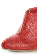 B.A.I.T. Hilda Red Alligator Pointed Shootie Booties
