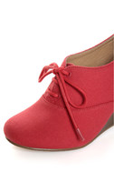 Chelsea Crew Sari Coral Red Canvas Oxford Wedges