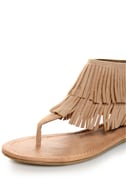 City Classified Cesar Camel Fringe Cuffed Thong Sandals
