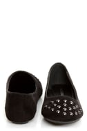City Classified Gloria Black Studded Cap-Toe Flats