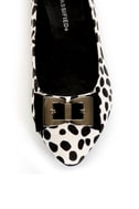 City Classified Kodey Beige and Black Dalmatian Pointed Flats