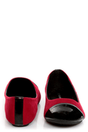 City Classified Yaku Lipstick Red and Black Cap-Toe Ballet Flats