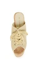 C Label Christian 3 Beige Lace-Up Peep Toe Slide Platforms