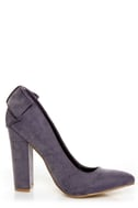 C Label Kristy 6 Purple Burnished Back-Bow Pointed Chunky Heels