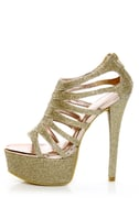 Chinese Laundry Tea Party Glitter Gold Cage Platform Pumps