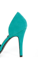 Fahrenheit CR-03 Teal Velvet Pointed D-Orsay Pumps