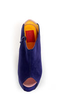 Fahrenheit Mica 01A Blue Velvet Peep Toe Shootie Wedges