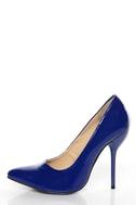 Fahrenheit Zara 02 Blue Patent Pointed Pumps