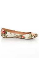 GoMax Sienna 22 Cream Floral Fabric Ballet Flats