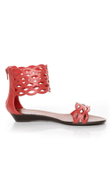 GoMax Sweet Dreams 08 Coral Red Laser Cutout Ankle Cuff Sandals