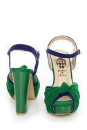 Erika 1 Green and Blue Knotty Peep Toe Platform Sandals
