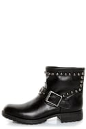 Kelsi Dagger Max Black Leather Studded Ankle Boots