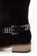 Kelsi Dagger Rover Black Suede Studded Cap-Toe Knee High Boots