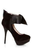 Carissa 13 Black Side Bow Ankle Cuff Platform Pumps