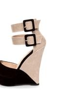 Monaco Black and Beige Belted Color Block Wedges