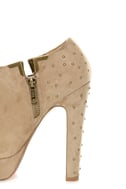 Luichiny I Want It Pebble Taupe Studded Platform Ankle Booties