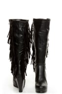 Luichiny Top That Black Fringe Wedge Boots