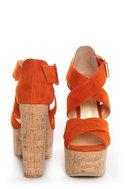Luichiny Van Buren Orange Cork Super Platform Heels
