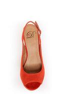 My Delicious Fausta Red Peep Toe Slingback Heels
