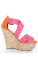 My Delicious Hall Fuchsia/Coral Color Block Platform Wedges