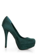 My Delicious Jones Dark Green Suede Platform Pumps