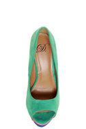 My Delicious Rainer Teal Multi Color Block Platform Heels