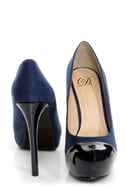 My Delicious Seal Blue Two Tone Cap-Toe Platform Pumps