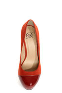 My Delicious Seal Cinnamon Rust Two Tone Cap-Toe Platform Pumps