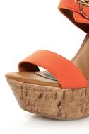 My Delicious Walro Burnt Orange Cotton Platform Wedge Sandals