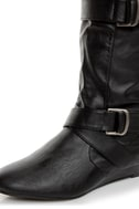Madden Girl Ilstrate Black Belted Sliver Wedge Boots