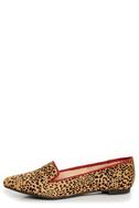 Mia Bardot Leopard Print Pony Fur Pointed Smoking Slipper Flats