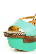 Mona Mia Mayo Mint Tribal Patterned Sculpted Platform Heels