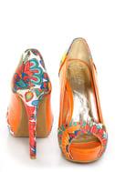 Mona Mia Leocadia Orange & Peacock Print Peep Toe Pumps