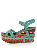 Michael Antonio Genoa Green Southwest Print Platform Sandals
