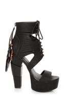 Michael Antonio Studio Thayer Black Tail Feather Lace-Up Heels
