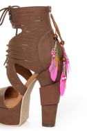 Michael Antonio Studio Thayer Cognac Tail Feather Lace-Up Heels