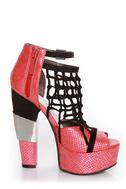 Michael Antonio Studio Townsend-Rep Red Metallic Cage Heels