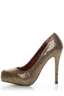 Mixx Laura 01N Gold Glitter Hidden Platform Party Pumps