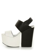 Amazee Black and White Platform Wedge-Meets-Heels